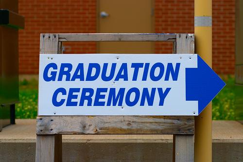 A graduation sign