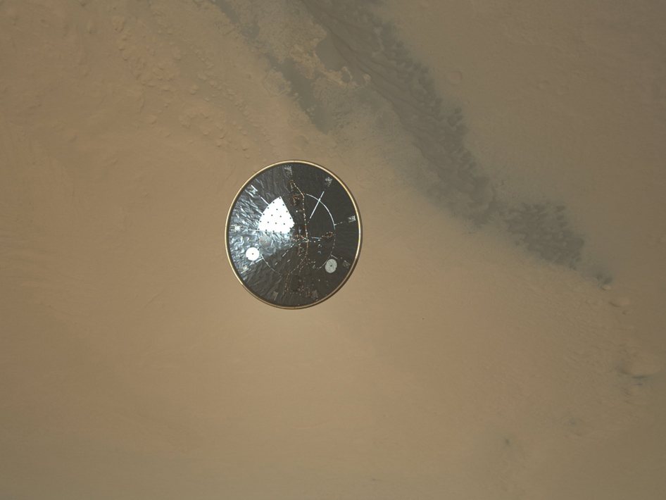 Photo of heat shield separation from Curiosity
